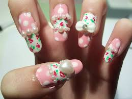 pearl studs nail art with 3d bow and heart nail art