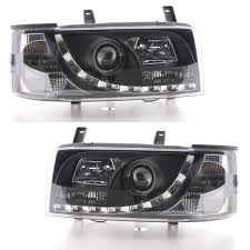 custom transporterz black drl devil eye r8 headlights vw t4 90