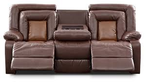 uncategorized reclining sofa with console mustang dual brown