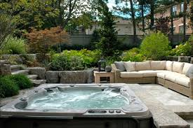 Keys Backyard Spa Parts by Backyard Tub Landscaping Ideas With Wicker Patio Sofa Home