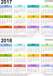 printable calendar year on one page 2017 2018 calendar free printable two year pdf calendars