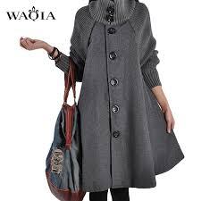 Preferidos Novo Outono Inverno Casaco De Lã Capa Casaco Longas Seções Costura  &WK04
