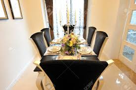 Dining Room In French Dining Room In Luxury Home With French Doors Stock Photo Picture