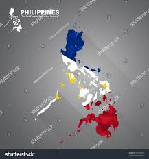 Philippines Flag Philippines Flag Overlay On Philippines Map Stock Vektorgrafik