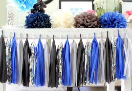 Royal Blue And Silver Wedding Royal Blue Grey Black Silver Tissue Paper Tassel Garland