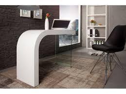 bureau design blanc laqué design blanc laqué et verre timmen 120 cm