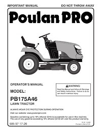 poulan pro pb175a46 lawn tractor user manual 56 pages