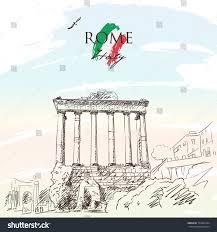 Flag Of Roma Sketch Pillars Temple Saturn Roman Forum Stock Vector 777862264