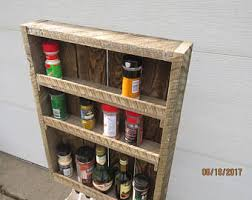 Rustic Spice Rack Kitchen Shelf Cabinet Made From Best Home Wooden Spice Rack Etsy
