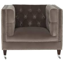 brown tufted velvet armchair