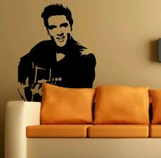 Decoration Star Wall Decals Home by Aliexpress Com Buy Elvis Guitar The King Pop Star Wall Art
