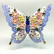 vintage style porcelain flower butterfly ornament for home office
