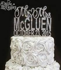 rhinestone cake toppers mr mrs rhinestone name with date wedding cake topper