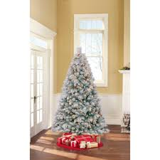 pre lit 7 foot westwood pine flocked artificial christmas tree