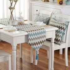 zig zag table runner european style vintage blue zigzag table runner with tassel home