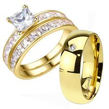 cheap his and hers wedding ring sets his and hers 3 pcs gold plated men s cz band women s 1 25ct