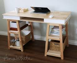Free Plans To Build A Computer Desk by Ana White Sawhorse Storage Leg Desk Diy Projects