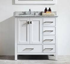 transitional 36 inch white bathroom vanity with white carrera