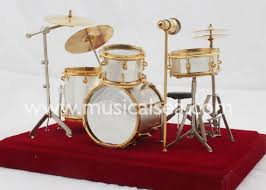silver miniature drum set ornament musical instrument