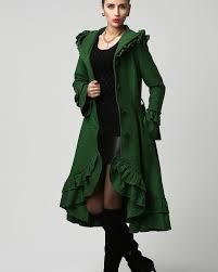 boho coat emerald green coat dark green coat womens coats maxi