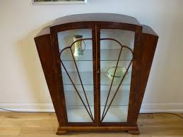 art deco walnut veneer glass display cabinet db moves to bk apt