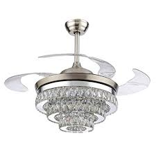 Remote Controlled Chandelier Rs Lighting European Crystal Ceiling Fan 42 Inch With Retractable