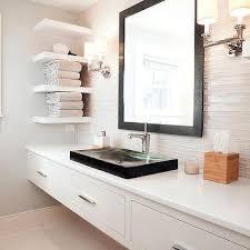 Bathroom Vanity Modern by Floating Shelves Flanking Bathroom Mirror Design Ideas