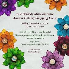 holiday coupon museum store holiday shopping event events yale peabody museum