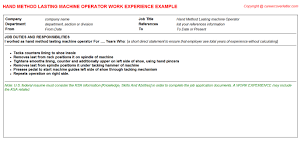 Sample Resume For Machine Operator Position by Method Cv Work Experience Samples