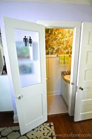 Interior Bathroom Door Remodelaholic How To Add A Glass Pane To A Wood Door