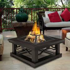 Wood Firepits Real Crestone 34 In Steel Framed Wood Burning Pit With