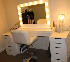makeup dressing table mirror lights rectangle white wooden makeup vanity table with drawers and
