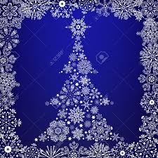 White Christmas Tree With Blue Decorations Abstrat White Christmas Tree On Blue Background Royalty Free