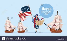 happy columbus day ship america discovery holiday poster greeting