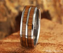 Hawaiian Wedding Rings by Titanium Koa Wood Inlaid Hawaiian Wedding Ring 8mm Makani Hawaii
