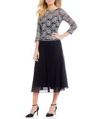 emma street sequined lace mock 2 piece tea length dress dillards