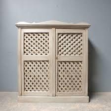 antique pine cupboard with lattice work doors armoires cupboards