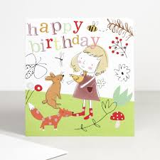 once upon a time girls happy birthday card woodland creatures