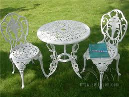 metal patio chairs and table 3 piece white bistro patio set table and 2 may chairs set furniture