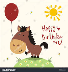 happy birthday card funny little horse stock illustration