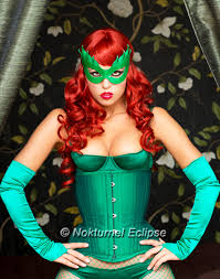 masquerade halloween costume poison ivy green leather mask batman female villain comic con