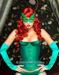 chuck e cheese halloween costume poison ivy green leather mask batman female villain comic con