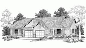 ranch style duplex hwbdo15126 country multi family house plan from
