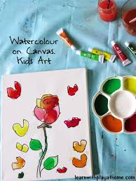 learn with play at home watercolour on canvas art for kids
