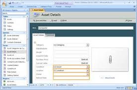 database template modify the assets access database template access