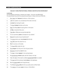 Verb Phrases Worksheets Subject Verb Agreement With Prepositional Phrases Worksheet