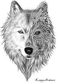 wolf with mandala flower design