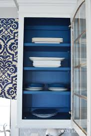 Blue Painted Kitchen Cabinets Remodelaholic Diy Refinished And Painted Cabinet Reviews
