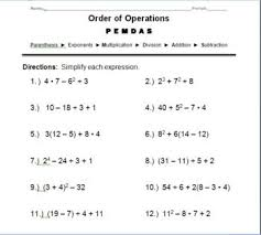 Order Of Operations Worksheet Answers Order Of Operations Worksheets 8th Grade With Answers