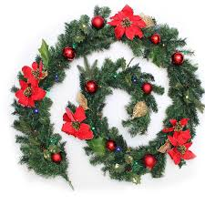 Christmas Decorations Buy Uk by Werchristmas Pre Lit Decorated Garland Illuminated With 40 Multi